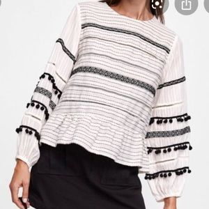 Zara Striped Pom Pom Long Sleeve Top